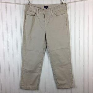 NYDJ Capri Pants Khaki Cuffed Stretch